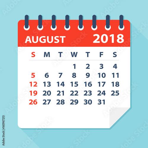 august 2018 calendar leaf illustration