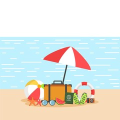 summer background with summer equipments