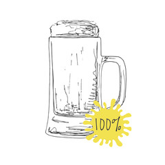 Hand drawn mug of beer isolated on white background. Vector illustration of a sketch style.