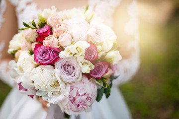 wedding bouquet with peony