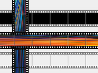 Photographic films on a white background