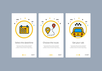 3 Taxi or Rideshare App Screens Layout 1