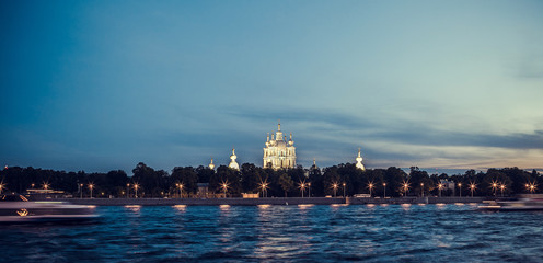 Smolny Cathedral in St. Petersburg white night, Russia