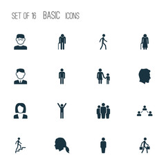 Person Icons Set. Collection Of Family, Member, Jogging And Other Elements. Also Includes Symbols Such As Head, Person, Member.