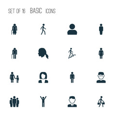 Human Icons Set. Collection Of Gentlewoman Head, Jogging, Female And Other Elements. Also Includes Symbols Such As Job, Work, Man.
