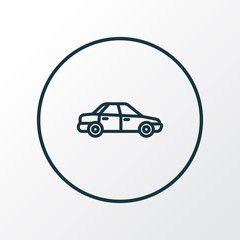 Automobile Outline Symbol. Premium Quality Isolated Sedan Element In Trendy Style.