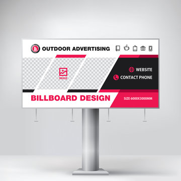 Billboard design, red graphic stand for outdoor advertising, banner template