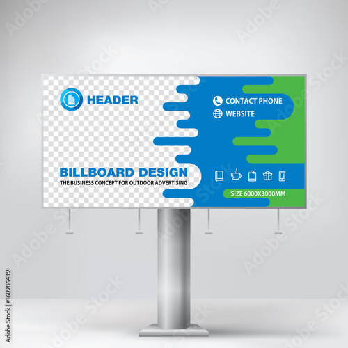 Billboard Design Blue Graphic Stand For Outdoor Advertising Banner Template