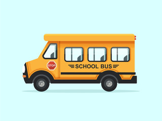 Yellow School Bus Vector Illustration. Flat Design Style.
