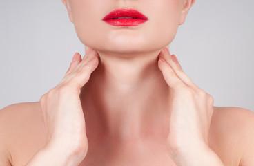 Anti-aging treatment. Beautiful woman neck