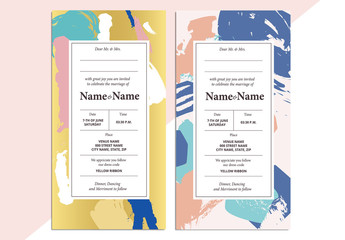 Patterned Wedding Invitation Layout 1