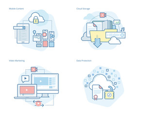 Set of concept line icons for mobile services and solutions, cloud storage, video marketing, data protection. UI/UX kit for web design, applications, mobile interface, infographics and print design.