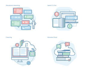 Set of concept line icons for education apps, networking, e-learning, education cloud. UI/UX kit for web design, applications, mobile interface, infographics and print design.