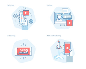Set of concept line icons for live streaming, mobile broadcasting, pay per view, online video, news. UI/UX kit for web design, applications, mobile interface, infographics and print design.