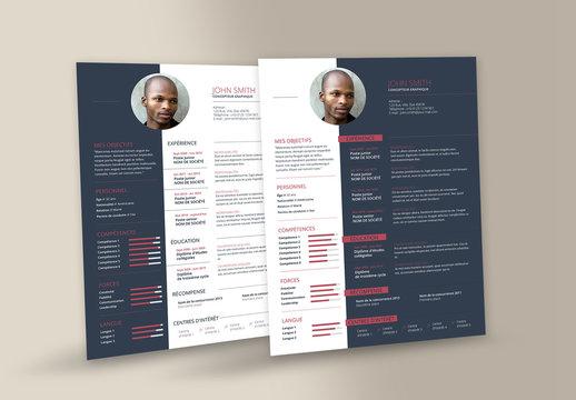 Modèles de CV et lettre de motivation comprenant des blocs de couleur