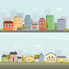 Printed kitchen splashbacks Light blue City outdoor day landscape house and street buildings outdoor cityspace disign vector illustration modern flat background