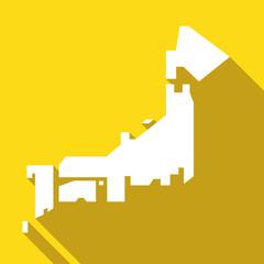 日本地図フラット長い影のイラスト黄色
