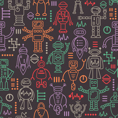 Vector seamless pattern with robots icons. Contour icons. Colorful. EPS10