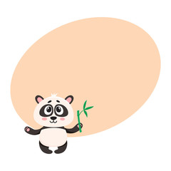 Cute and funny smiling baby panda character holding bamboo branch in paw, cartoon vector illustration with space for text. Cute little panda bear character, mascot with bamboo leaves