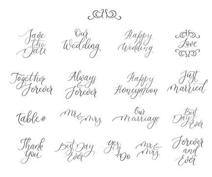Handwritten set for design wedding invitations, photo overlays, cards. Calligraphy