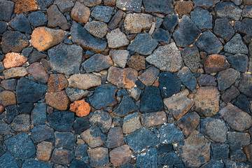Basalt volcanic rock wall use as background