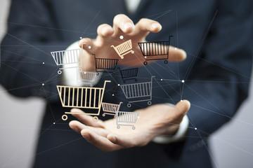 Businessman hand baskets in screen