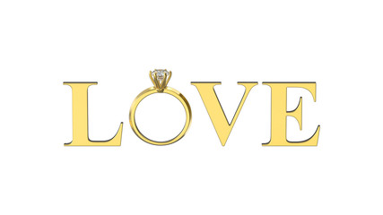 3D illustration isolated gold text word love with diamond ring on a white background
