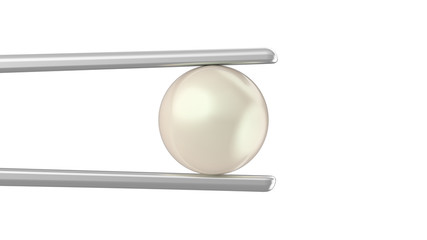 3D illustration isolated pearl in tweezers on a white background