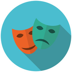 Mask movie in flat style icon with shadow. Vector illustration.