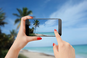 Woman holding smartphone in horizontal position and taking photo of palm tree on the beach