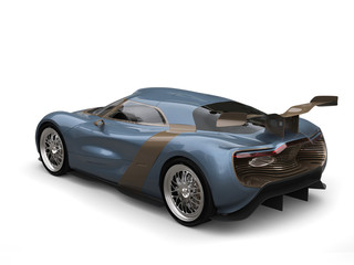 Metallic blue super car with light brown panels and detailing