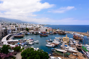 Panoramic view of Kyrenia old harbour, Cyprus.