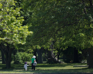 Child and Grandmother walking in the park