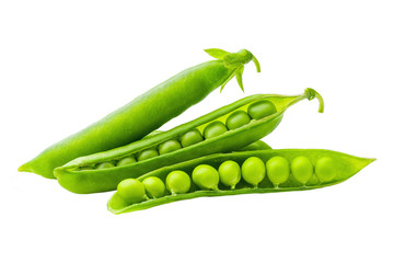 green peas and pod on white background