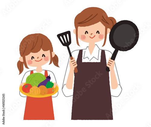 料理を楽しむ親子 イラスト素材 [ 4031040 ] - フォ …