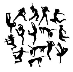 Cool Breakdance and Hip Hop Expression, art vector silhouettes design