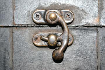 Brass closing hook of a secret casket box