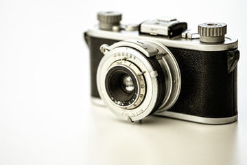 Old vingtage camera with copy space
