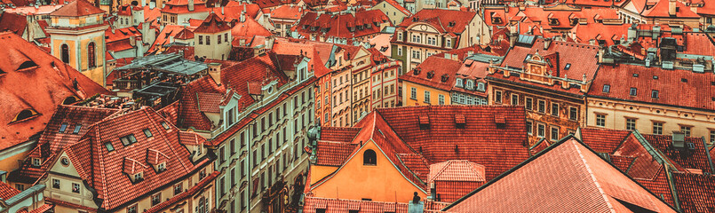 Papiers peints Europe de l Est View to the colorful roofs and houses of Vysegrad in Prague, Czech Republic at autumn - aerial image, travel seasonal vintage hipster background
