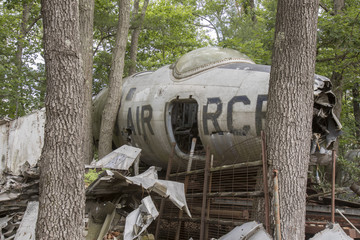Nose cone of wrecked Air Force fighter jet