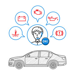 Car maintenance manager vector illustration. Car technical assistant concept with warning signs (check engine, oil pressure, generator, coolant level, brake system).