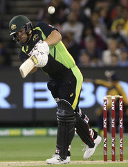 Australia's Finch batting against India during their T20 cricket match at the Melbourne Cricket Ground