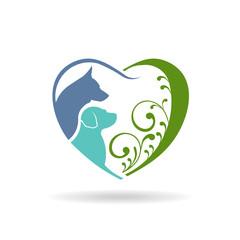 Dog love heart logo. Vector graphic design