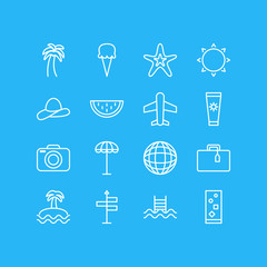 Vector Illustration Of 16 Summer Icons. Editable Pack Of Earth, Palm, Swimming And Other Elements.
