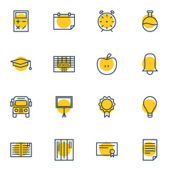 Vector Illustration Of 16 Studies Icons. Editable Pack Of Cap, Bulb, Bookshelf And Other Elements.
