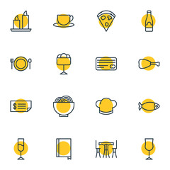 Vector Illustration Of 16 Restaurant Icons. Editable Pack Of Wine, Sundae, Alcohol And Other Elements.