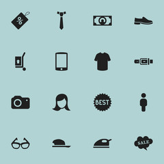 Set Of 16 Editable Trade Icons. Includes Symbols Such As Cellphone, Lady Aspect, Strap And More. Can Be Used For Web, Mobile, UI And Infographic Design.