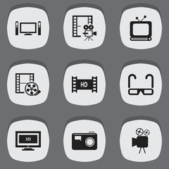 Set Of 9 Editable Cinema Icons. Includes Symbols Such As Camcorder, Film Spectacles, Cinematography And More. Can Be Used For Web, Mobile, UI And Infographic Design.