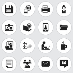 Set Of 16 Editable Office Icons. Includes Symbols Such As Dossier, Worker In Laptop, Epistle And More. Can Be Used For Web, Mobile, UI And Infographic Design.