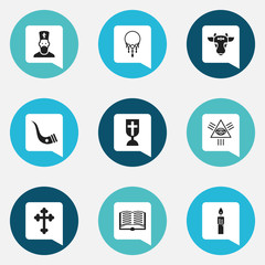 Set Of 9 Editable Dyne Icons. Includes Symbols Such As Catholic Crucifix, Tusk, Chaplain And More. Can Be Used For Web, Mobile, UI And Infographic Design.
